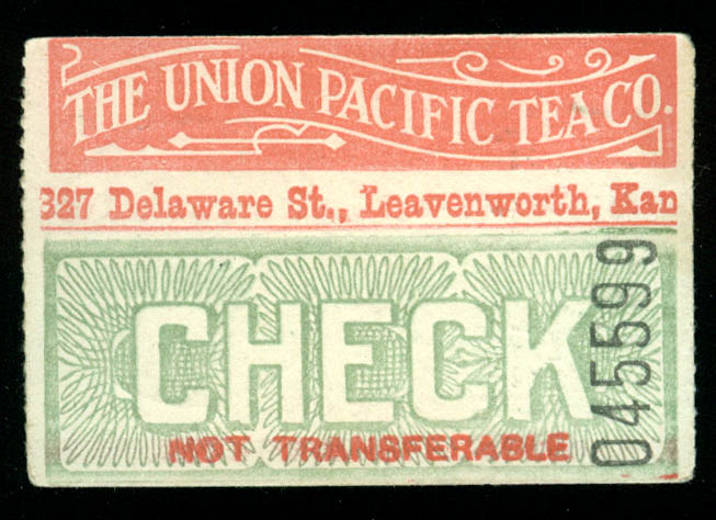Union Pacific Tea Company Leavenworth KS premium check ca 1915