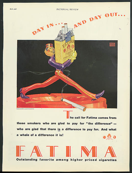 Day in & Day out Fatima Cigarettes ad 1928 bellboy by Robert Lawson