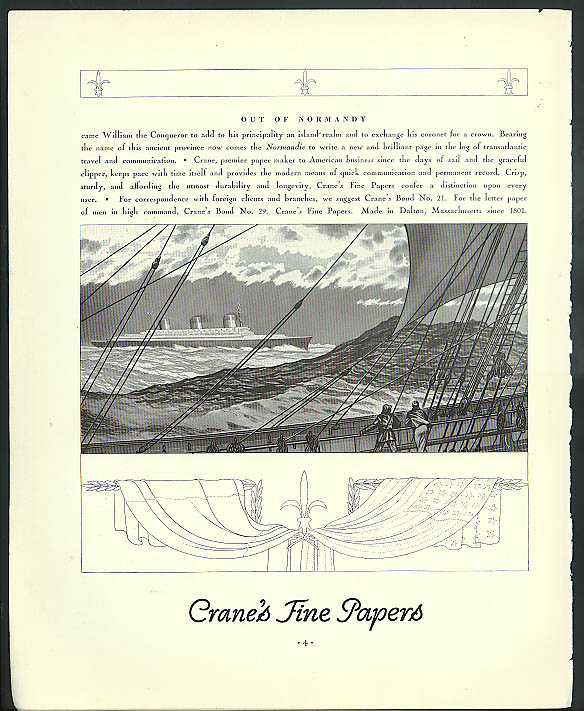 Out of Normandy came . . . S S Normandie Crane's Fine Papers ad 1935