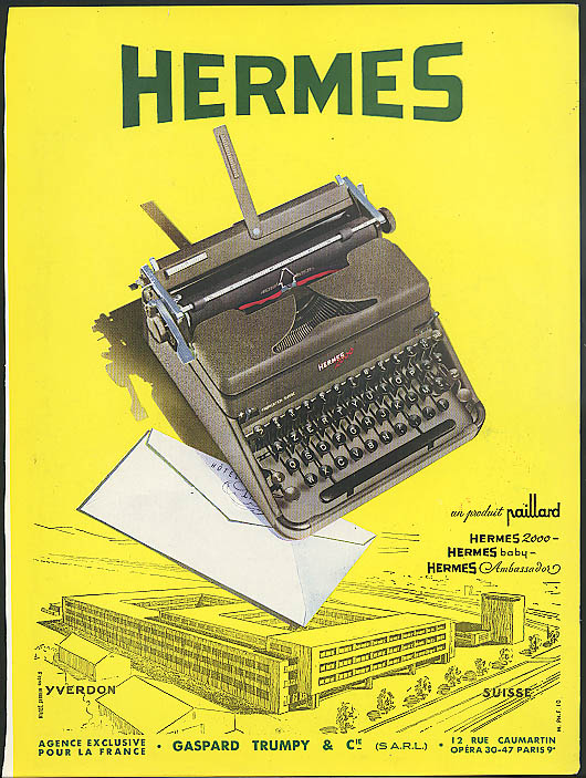 Hermes 2000 Typewriter ad France 1951