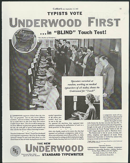 Image for Typists vote Underwood typewriter first in blind touch test ad 1936