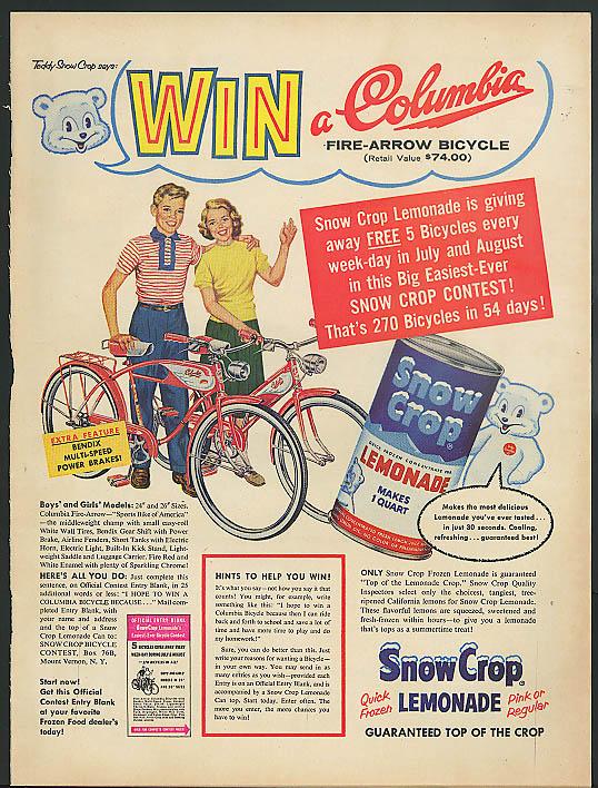 Win a Columbia Fire-Arrow Bicycle Snow Crop Lemonade ad 1957