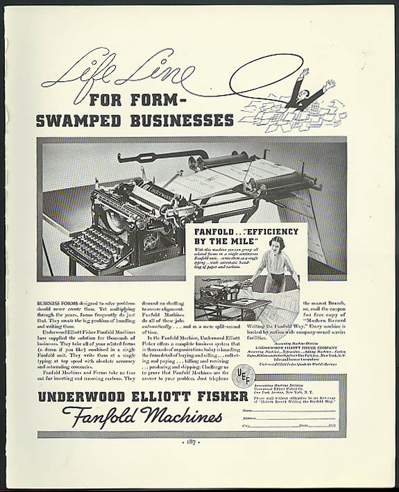 Image for Life Line for form-swamped business Underwood Elliott Fisher Typewriter ad 1936