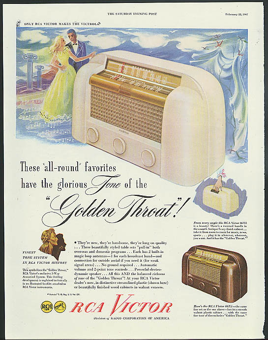 All-round favorites glorious Tone of the Golden Throat RCA Victor Radio ad 1947