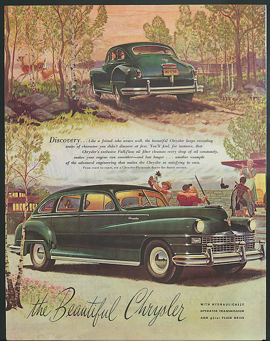 Discovery like a friend who wears well Chrysler 4-door Sedan ad 1947