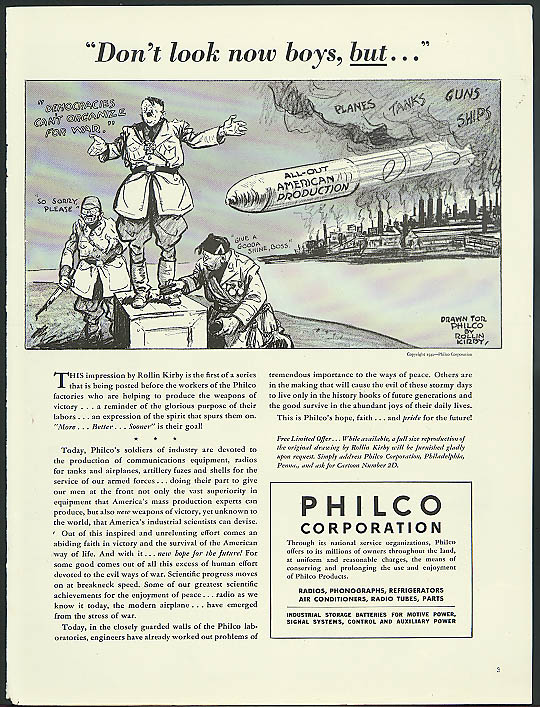 Image for Don't look now boys, but . . .Philco ad 1942 Anti Hitler Mussolini Tojo