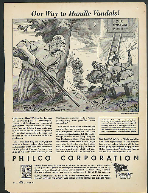 Image for Our Way to Handle Vandals Philco ad 1942 Uncle Sam anti Hitler Tojo Mussolini