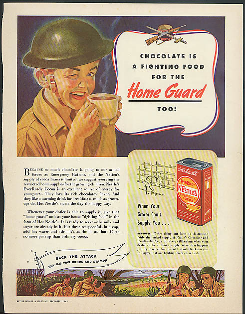 Chocolate is a fighting food for the Home Guard too! Nestle's Cocoa ad 1943