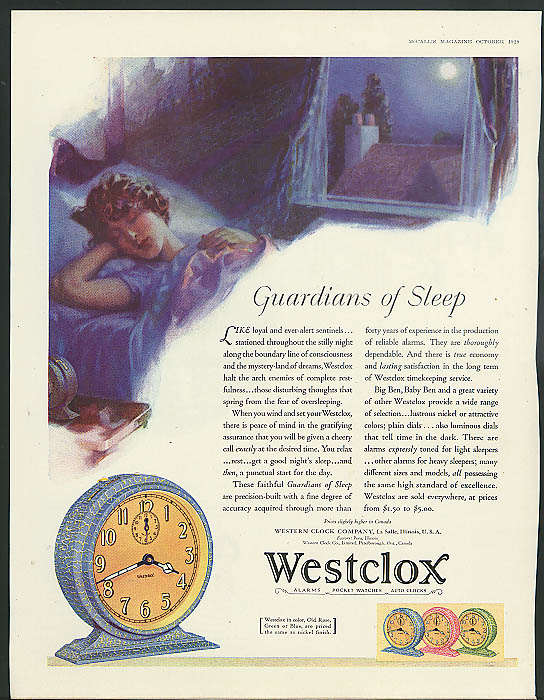 Guardians of Sleep Westclox Alarm Clock ad 1929