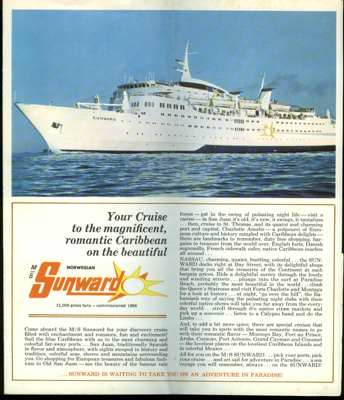 Norweian Caribbean Line M S Sunward San Juan Nassau Cruise broch deck plan 1970