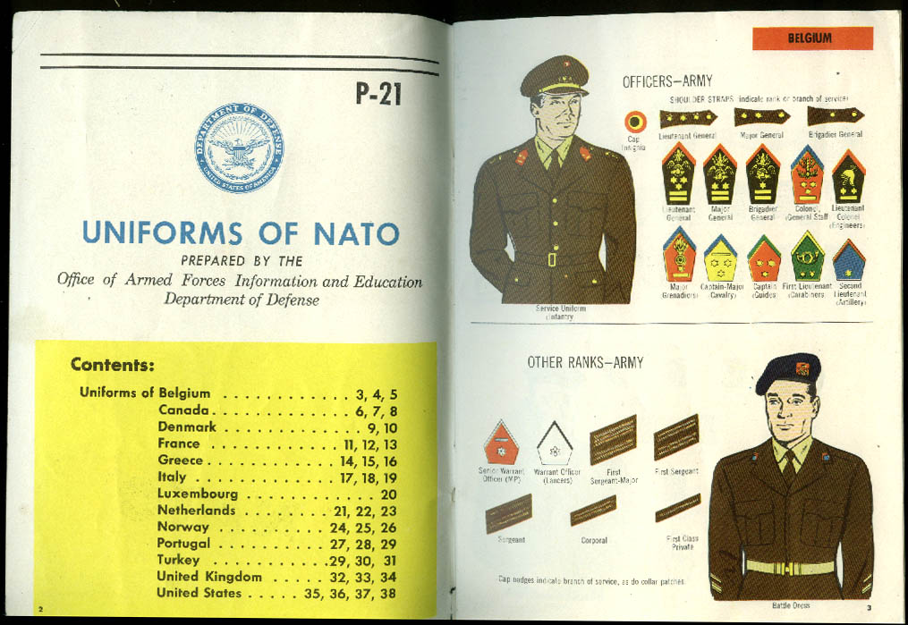 Uniforms of Nato Armed Forces Info & Education booklet P-21 1950s