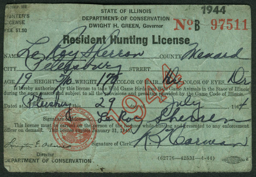 Illinois resident hunting license 1944 1 migratory bird for Fishing license illinois