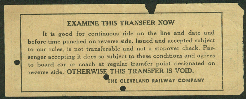 Cleveland Railway Company Clifton Penny Transfer undated, punched OH