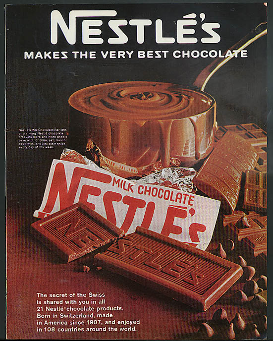 Image for Nestle's Makes the Very Best Chocolate ad 1967 chocolate bar