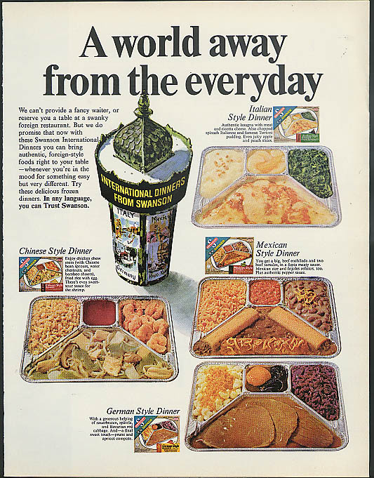 A world away from the everyday Swanson International TV Dinners ad 1967