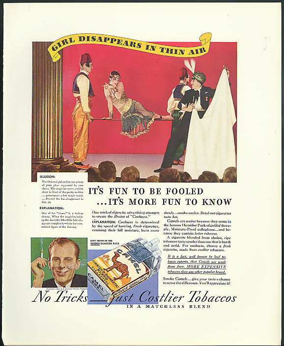Image for Girl disappears Fun to be Fooled Magician ad 1933 Camel Cigarettes