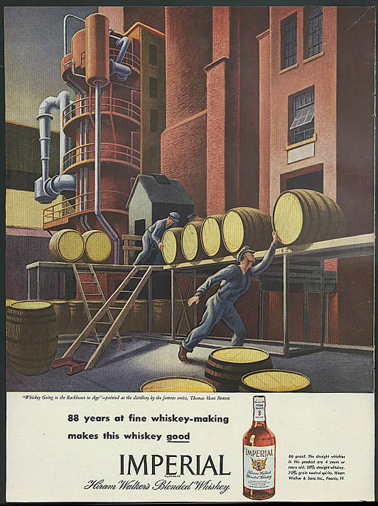 88 years fine whiskey-making Imperial Blended Whiskey ad 1946 Thomas Hart Benton