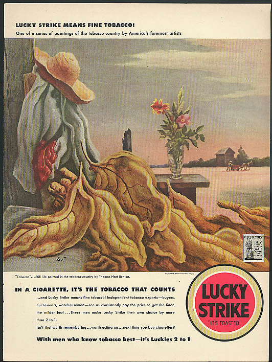 Image for Lucky Strike means Fine Tobacco! Cigarette ad 1942 Thomas Hart Benton art