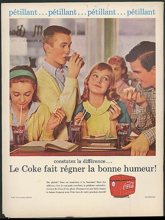 Petillant! Coca-Cola fait regner bonne humeur ad 1956 French Canada Carol Lynley