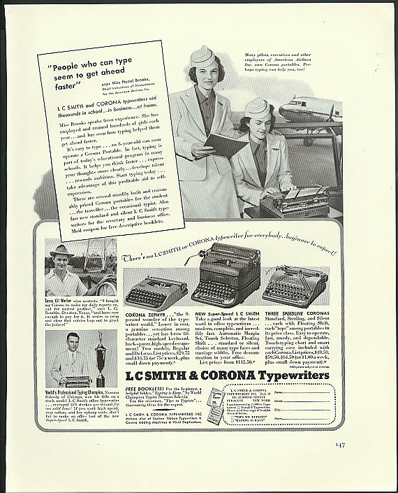 Image for People who type get ahead faster L C Smith & Cornoa Typewriter ad 1940