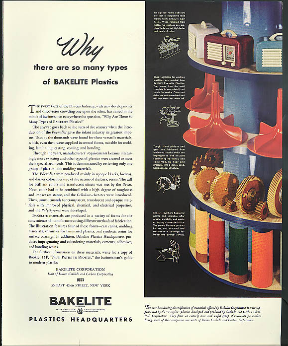 Image for Why there are so many types of Bakelite Plastics ad 1941