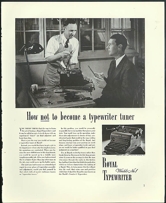 Image for How not to become a typewriter tuner Royal Typewriter ad 1941