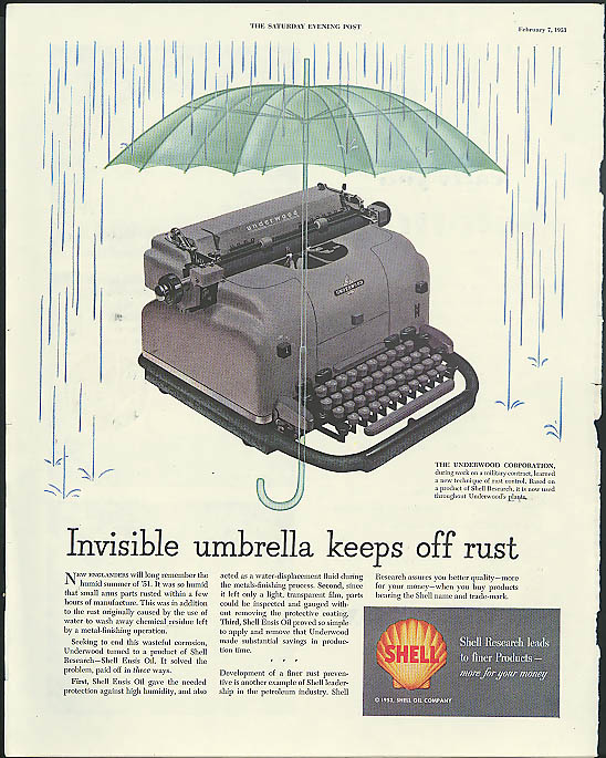 Image for Invisible umbrella keeps off rust Shell Ensis ad 1953 Underwood typewriter