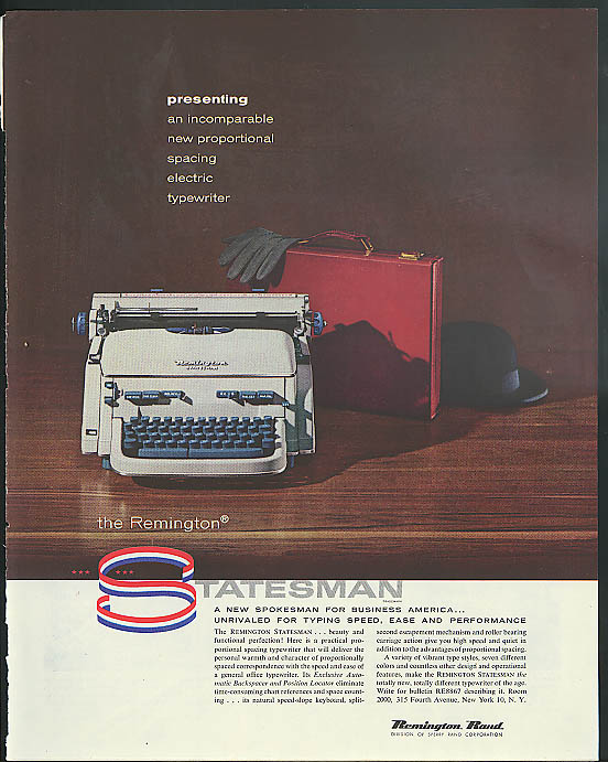 Image for Remington Statesman proportional spacing electric typewriter ad 1957