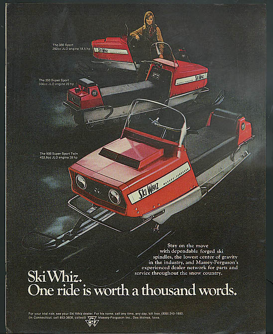 Ski Whiz: One ride is worth a thousand words Massey-Ferguson Snowmobile ad 1969