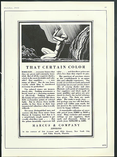 Image for That certain color - Emeralds Marcus & Company Jewelers ad 1926 Rockwell Kent