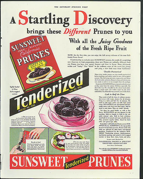 A Startling Discovery brings Sunsweet Tenderized Prunes ad 1933