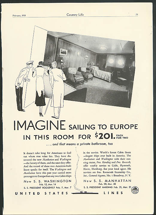 Imagine sailing to Europe in a room like this $201 United States Lines ad 1934