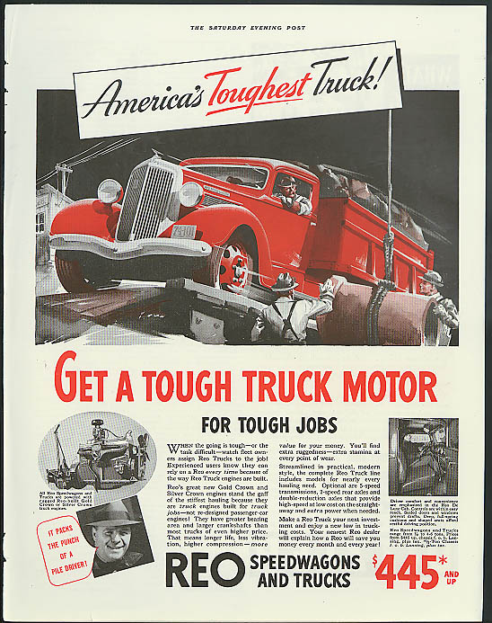 America' Toughest Truck! REO Speedwagons & trucks ad 1936 dump truck