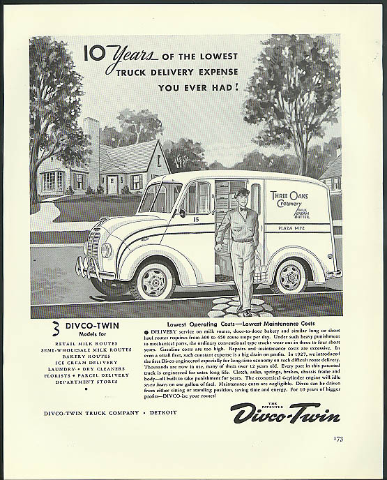 10 Years lowest truck delivery expense Divco-Twin ad 1941 Three Oaks Creamery
