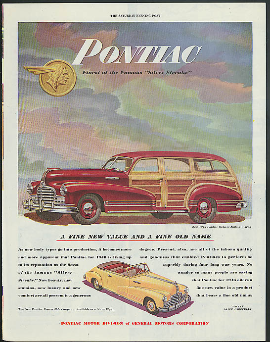 A fine new value & a fine old name Pontiac Woodie Wagon & Convertible ad 1946