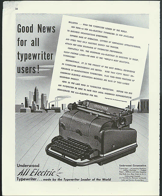 Good News for all typewriter users! Underwood All Electric ad 1947