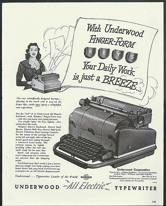 Finger-form keys - Daily work a Breeze Underwood Electric Typewriter ad 1949