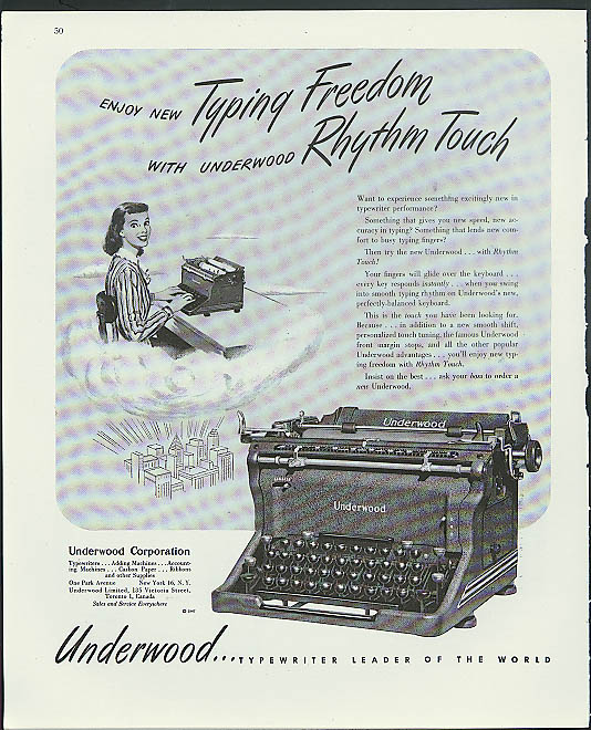 Enjoy new Typing Freedom with Rhythm Touch Underwood Typewriter ad 1947