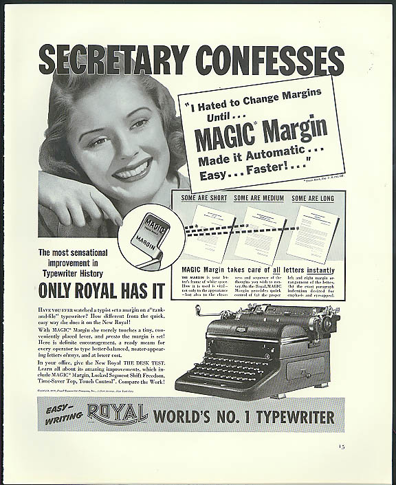 Image for Secretary confesses - hated to change Royal Magic Margin Typewriter ad 1940