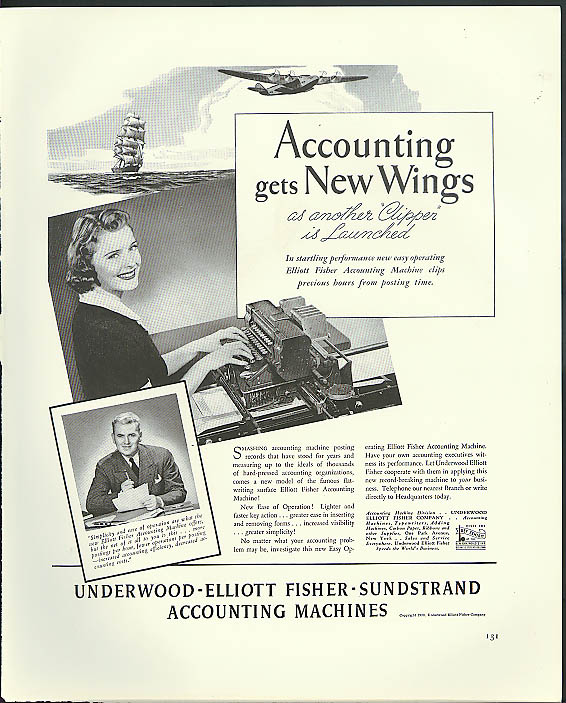 Image for Accounting gets new wings Underwood Accounting Machines ad 1939
