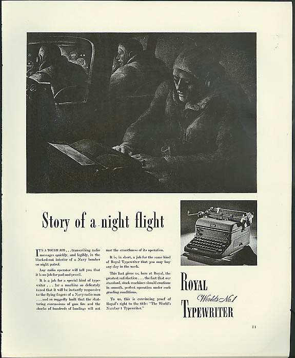 Image for Story of a Night Flight Royal Typewriter ad 1941 Navy patrol bomber mission