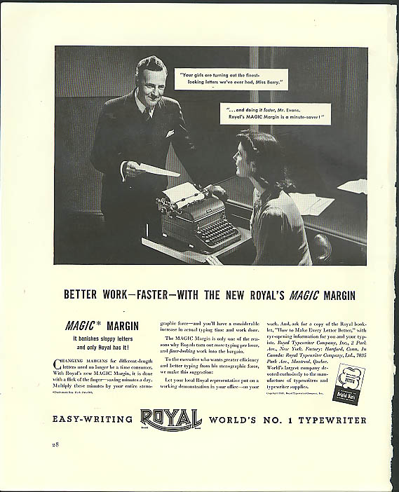Better work - faster - with Royal Typewriter's Magic Margin ad 1940