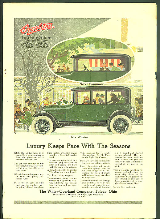 Image for Luxury Keeps Pace With The Seasons Willys-Overland Touring Sedan ad 1917