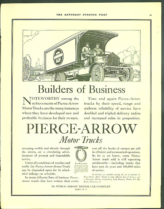 Builders of Business Pierce-Arrow Motor Trucks ad 1917