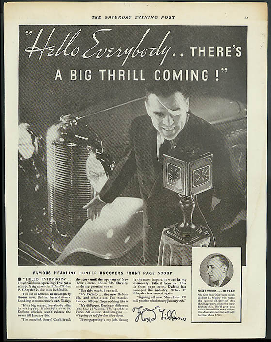 Image for Hello Everybody! There's a Big Thrill Coming! Floyd Gibbons for 1932 De Soto ad