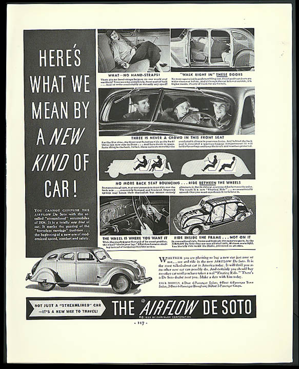 Image for Here's what we mean by a new kind of car! Airflow De Soto ad 1934