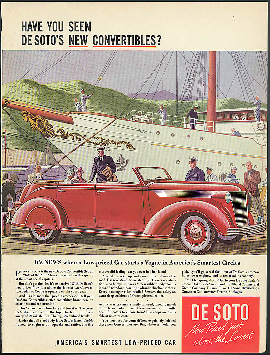 Image for Have you seen De Soto's new convertibles? De Soto Convertible Sedan ad 1937