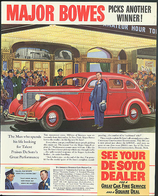 Image for Major Bowes picks another winner! De Soto ad 1938