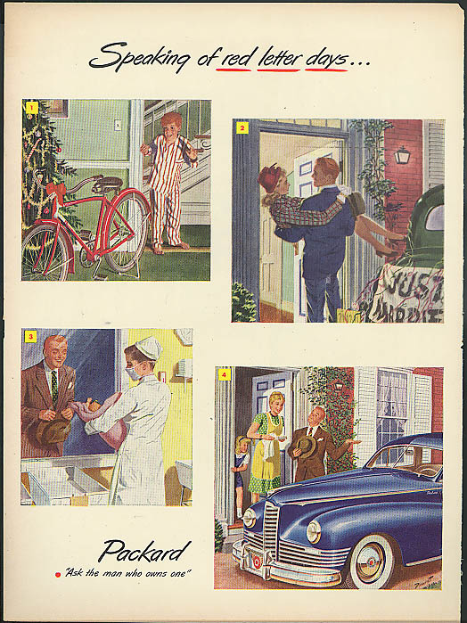 Image for Speaking of red letter days Packard DeLuxe ad 1947