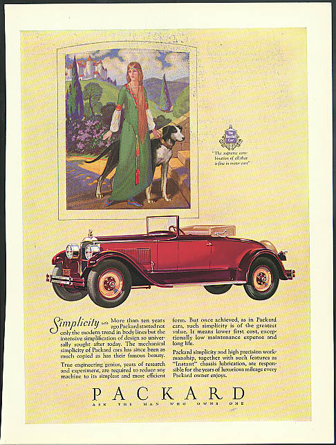 Simplicity - More than ten years ago the modern trend Packard Cabriolet ad 1927